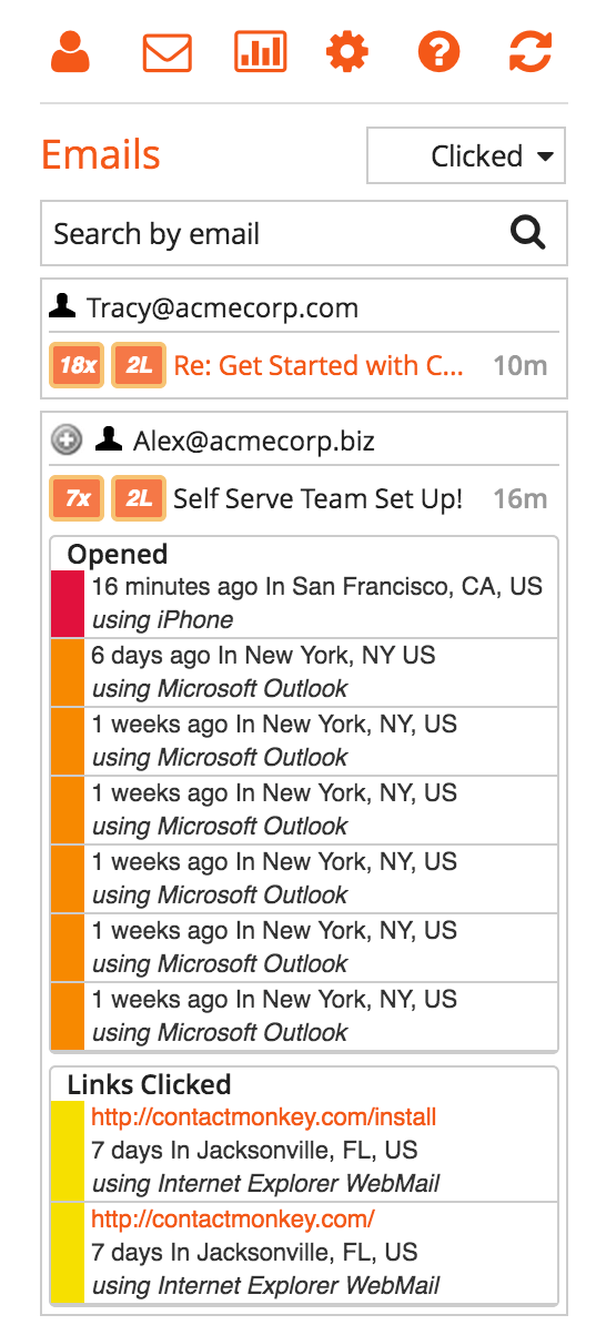 outlook tracking
