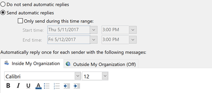 how to put out of office message in outlook