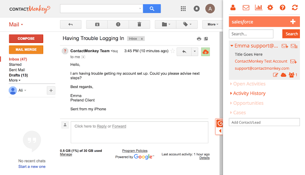 Salesforce Email Templates in Gmail Side Panel to Improve Productivity