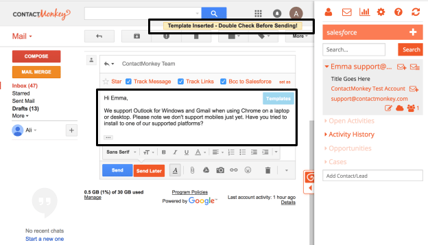 Salesforce Email Templates in Gmail