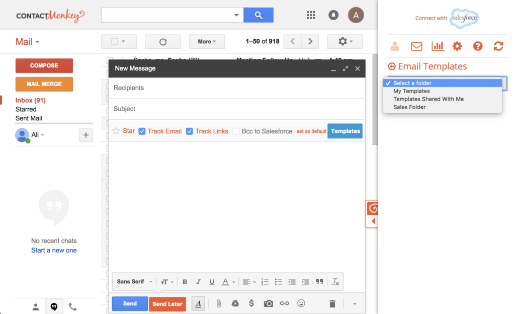 Step 2 - Selecting Email Templates for Gmail