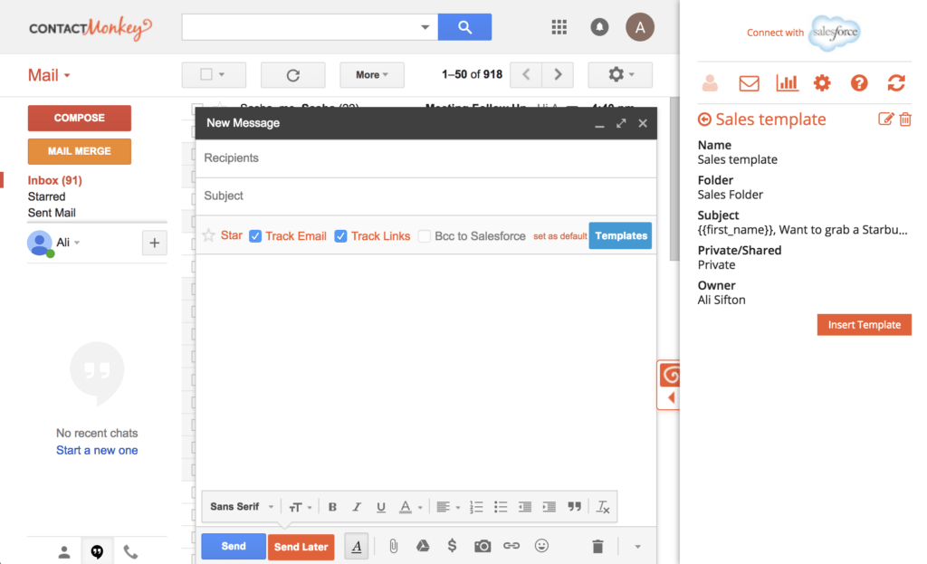 Step 4 - Selecting Email Templates for Gmail