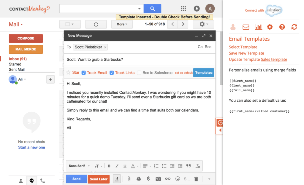 Step 5 - with recipient - Selecting Email Templates for Gmail