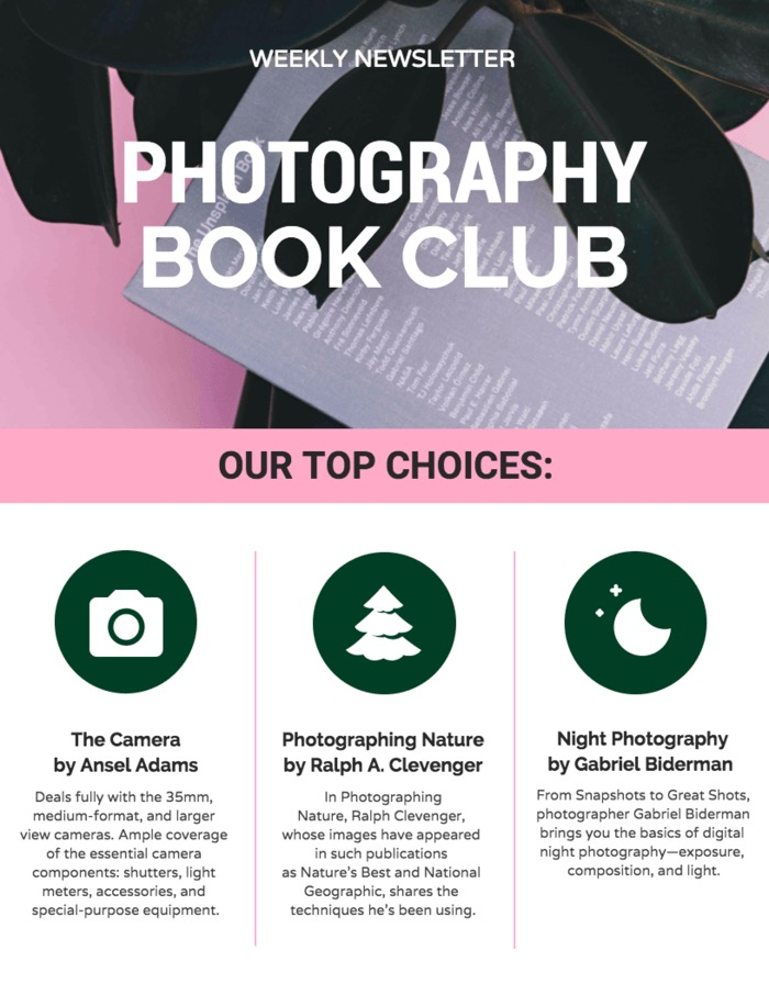 Photography book club email template