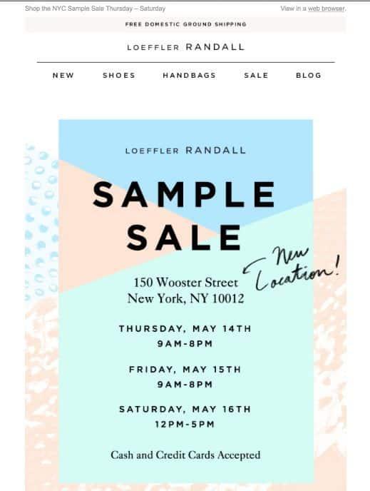 Loeffler Randall handwritten font newsletter example