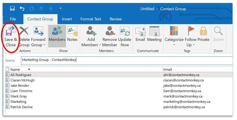 save-and-close the Outlook groups