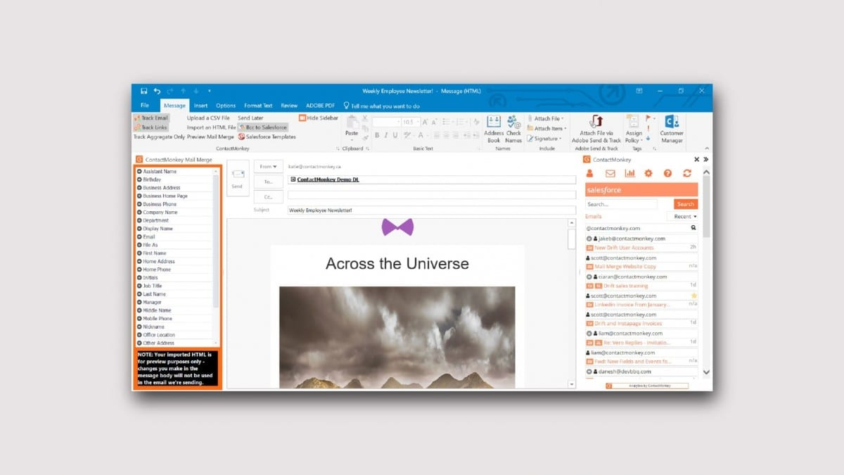 How to send internal emails from outlook