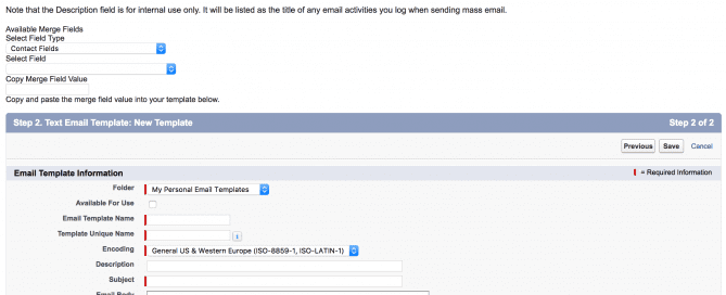 How to create a text Salesforce Email Template - Step 2