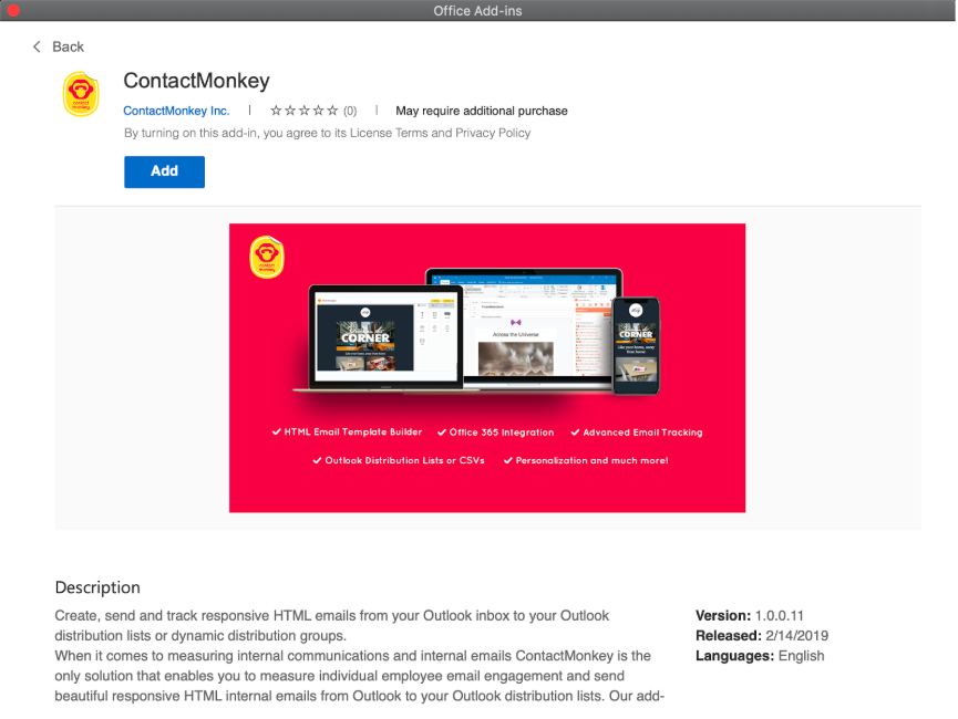 Office 365 Internal Comms Add-in for Mac and Outlook Web App