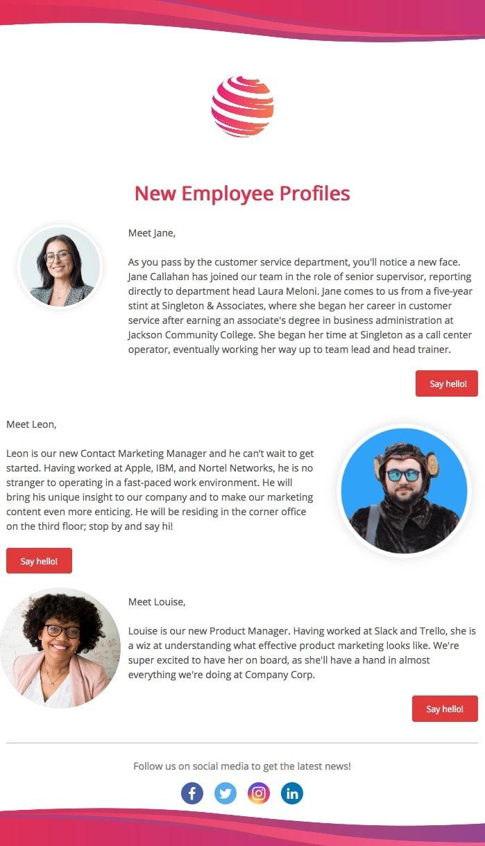 new employee profiles screenshot